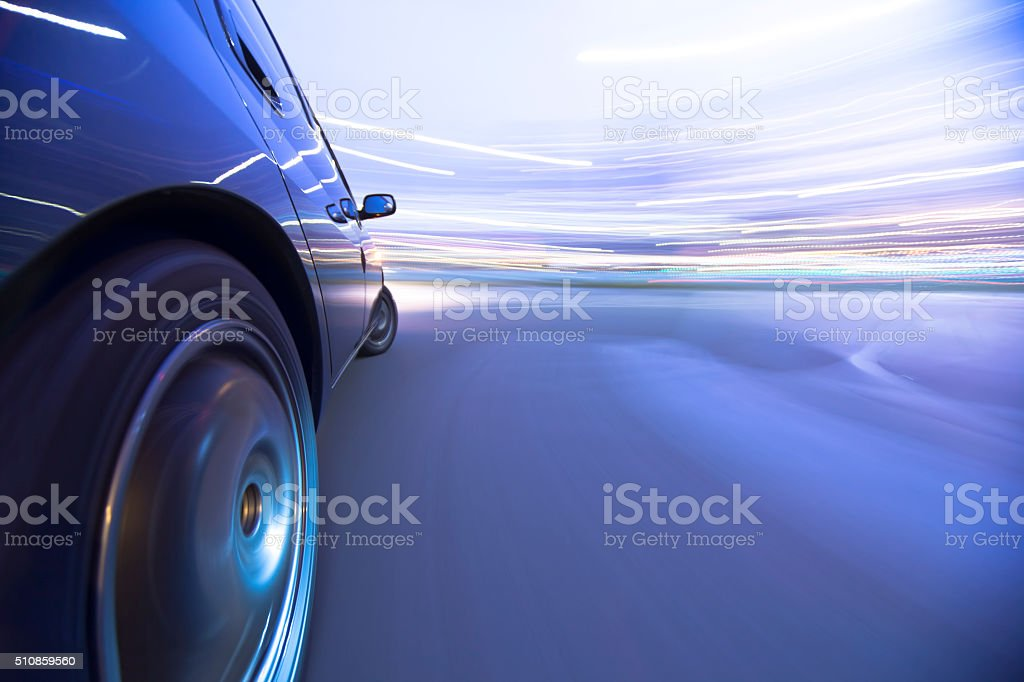 Driving in the sunset city. stock photo