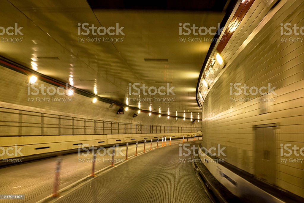 Driving in the Tunnel stock photo