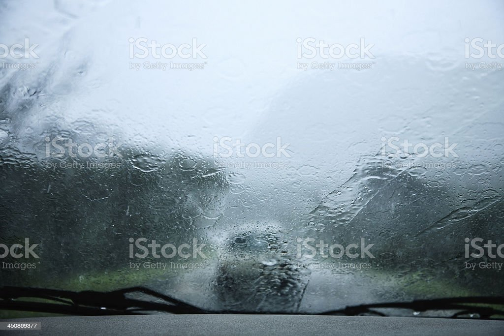 Driving in Thunder Storm stock photo