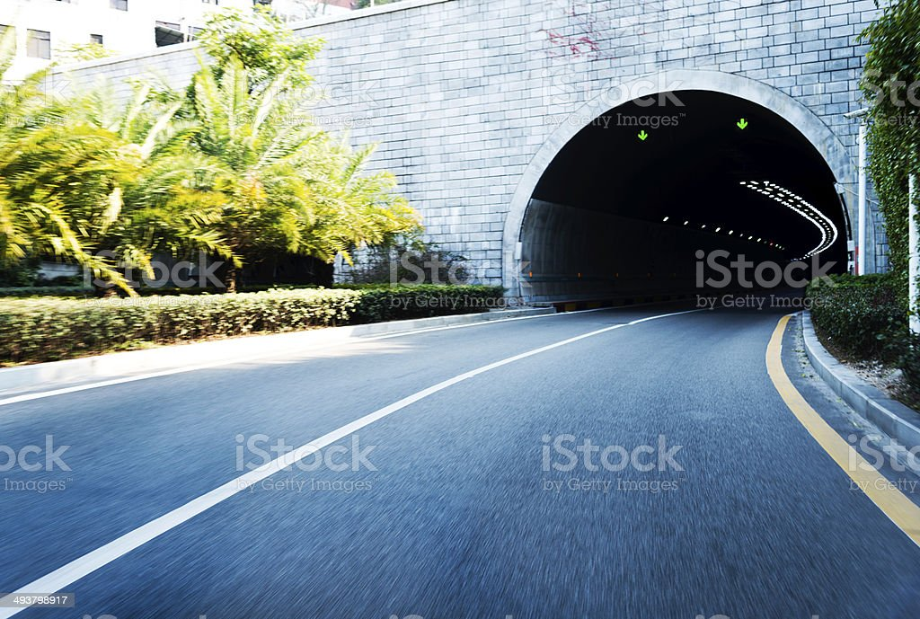 driving in tunnel stock photo