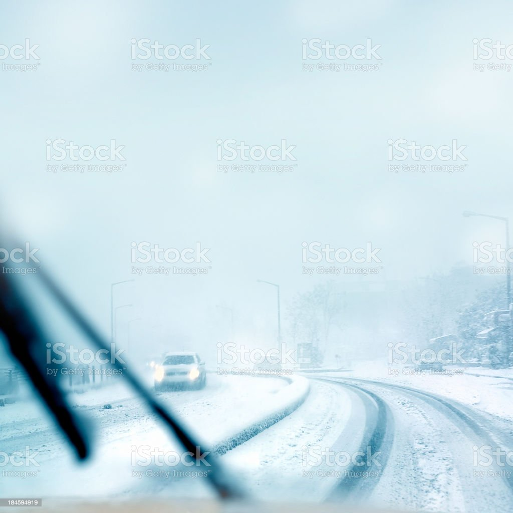 driving in winter royalty-free stock photo
