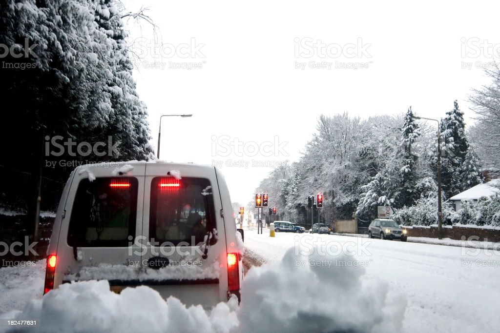 Driving in winter snow stock photo