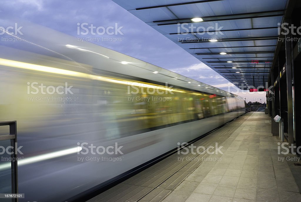 Driving Metro and station at night in Copenhagen royalty-free stock photo