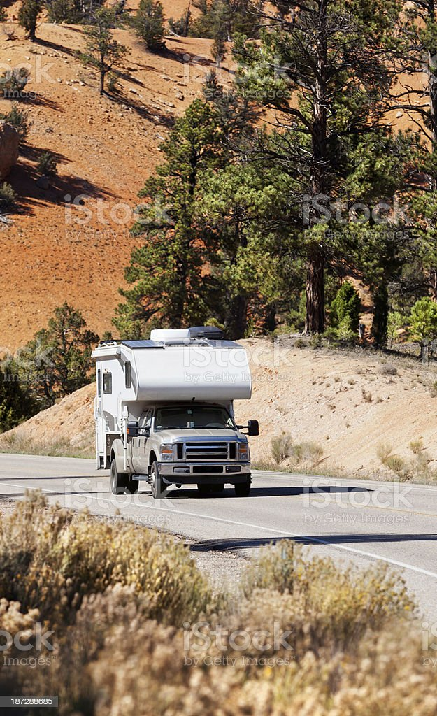 Driving motorhome through Bryce Canyon National Park USA royalty-free stock photo