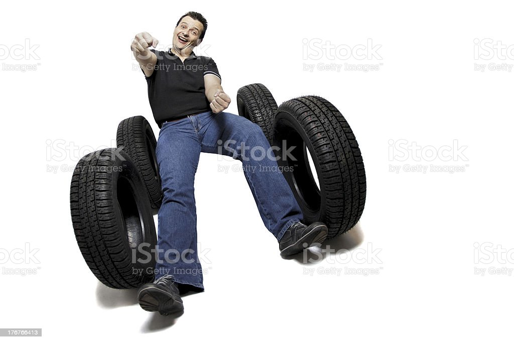 Driving new tires royalty-free stock photo
