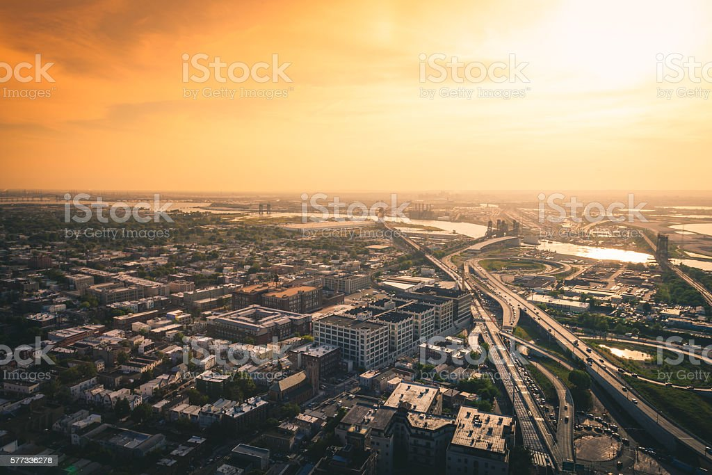 Driving off into the New Jersey Sunset - Aerial View royalty-free stock photo