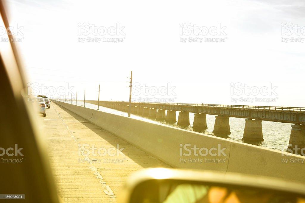 Driving On Bridge stock photo