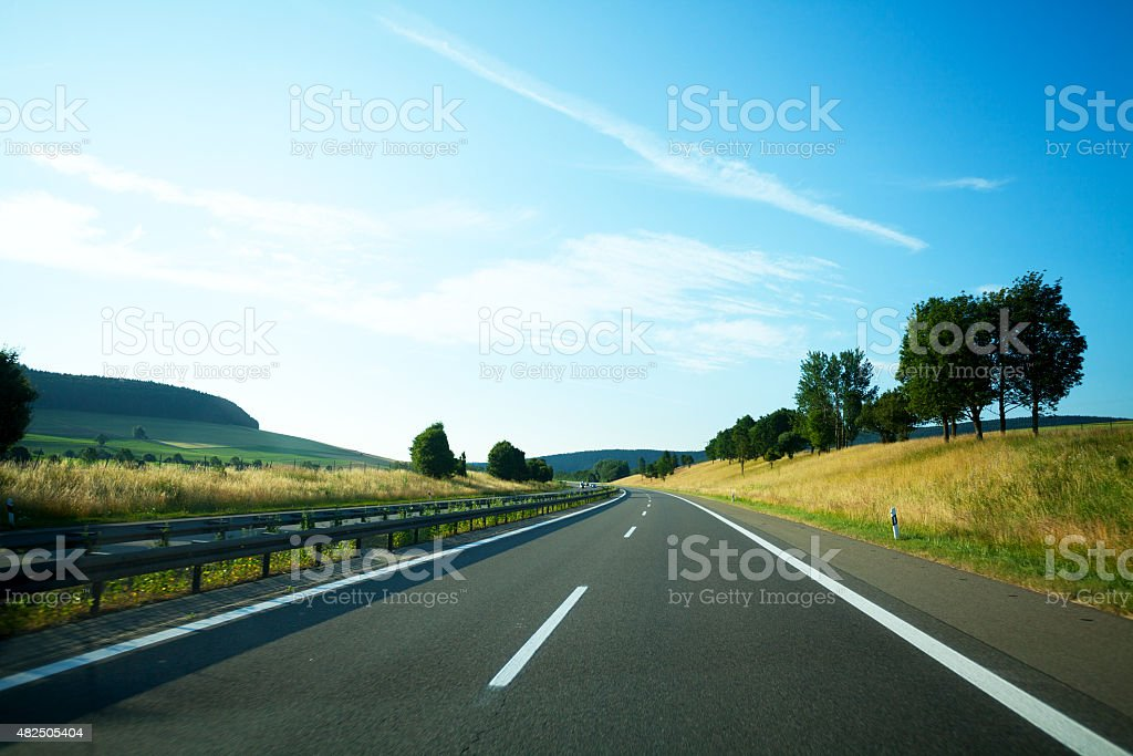 Driving on highway A81 to south stock photo
