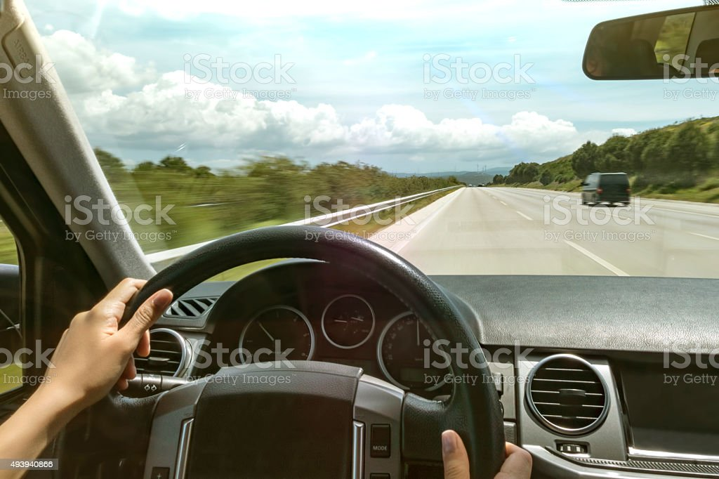 driving on highway stock photo