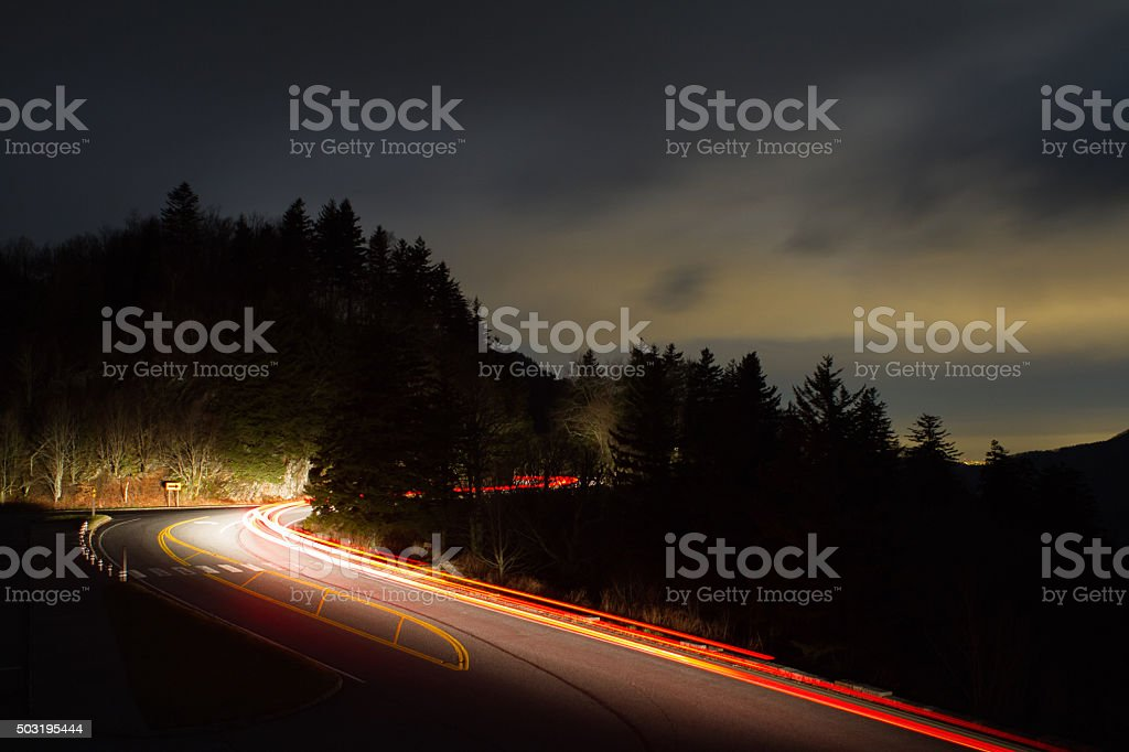 Driving on Newfound Gap stock photo