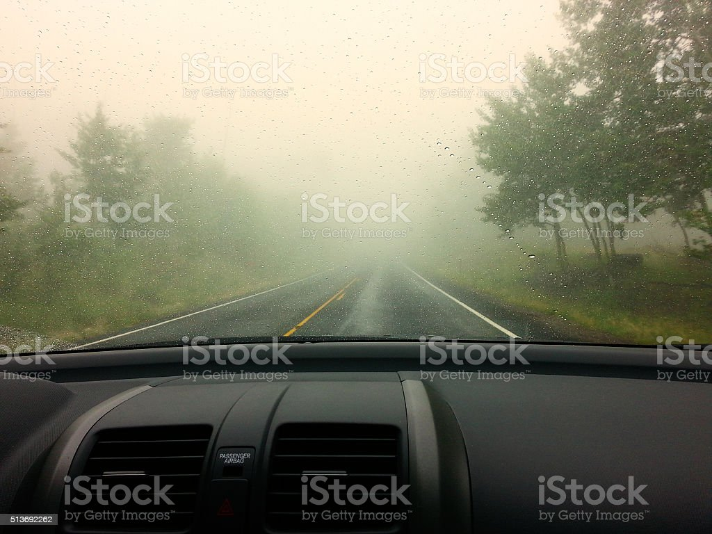 Driving on rainy day stock photo
