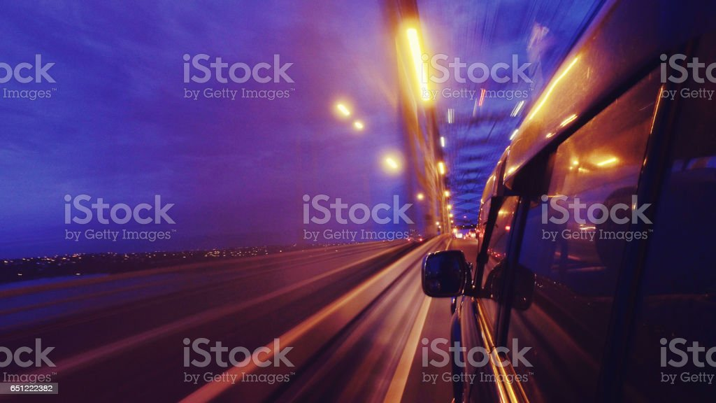 Driving On Road. stock photo