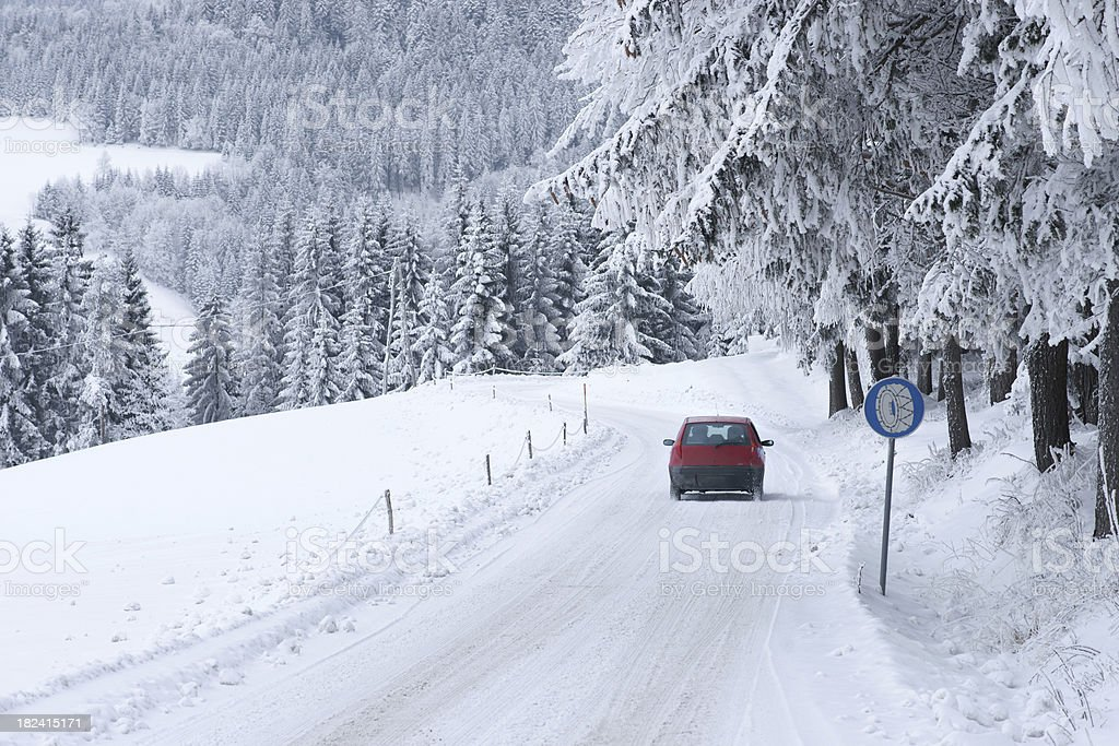 Driving on snow covered road royalty-free stock photo