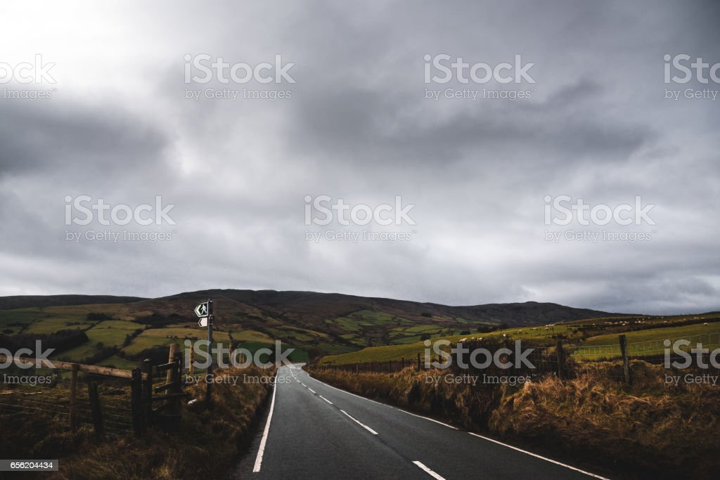 driving on south wales on the road stock photo
