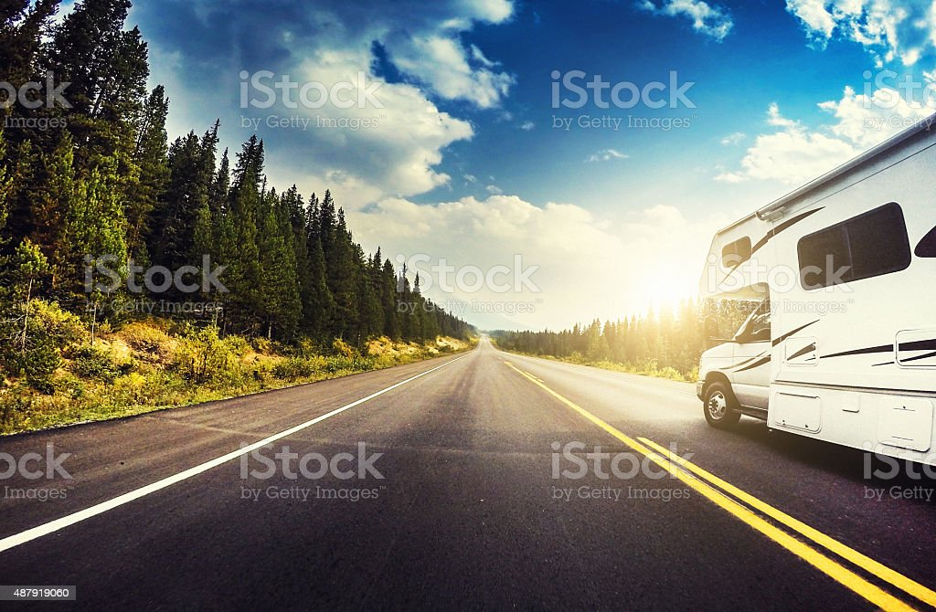 Driving on the Banff National Park - Alberta, Canada stock photo