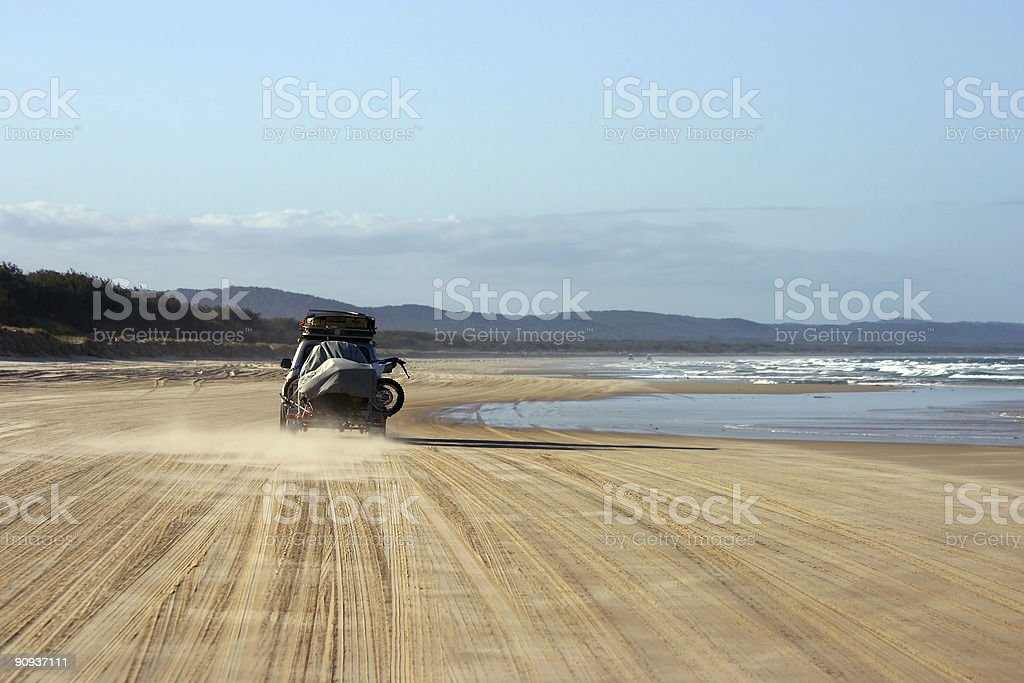 Driving on the beach royalty-free stock photo