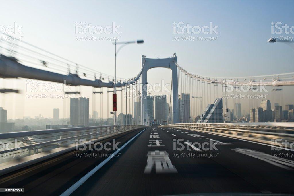 Driving on the bridge royalty-free stock photo