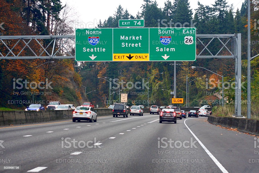 Driving on the Highway in Portland Oregon stock photo