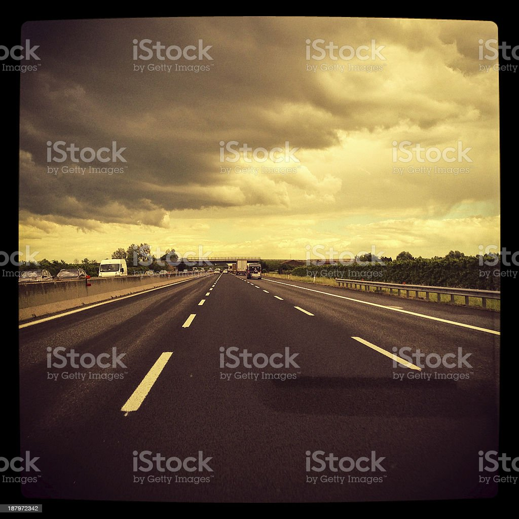 Driving on the highway royalty-free stock photo