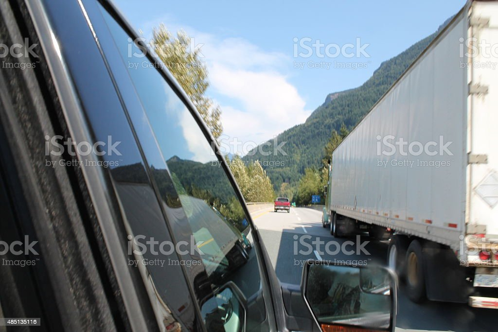 Driving on the highway stock photo