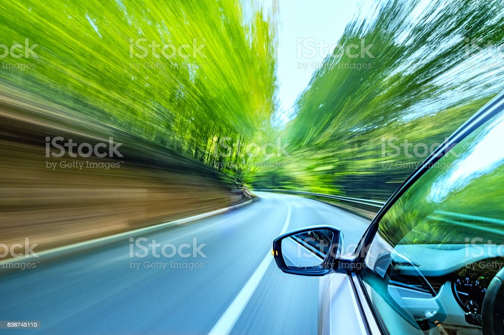 Driving on the road stock photo