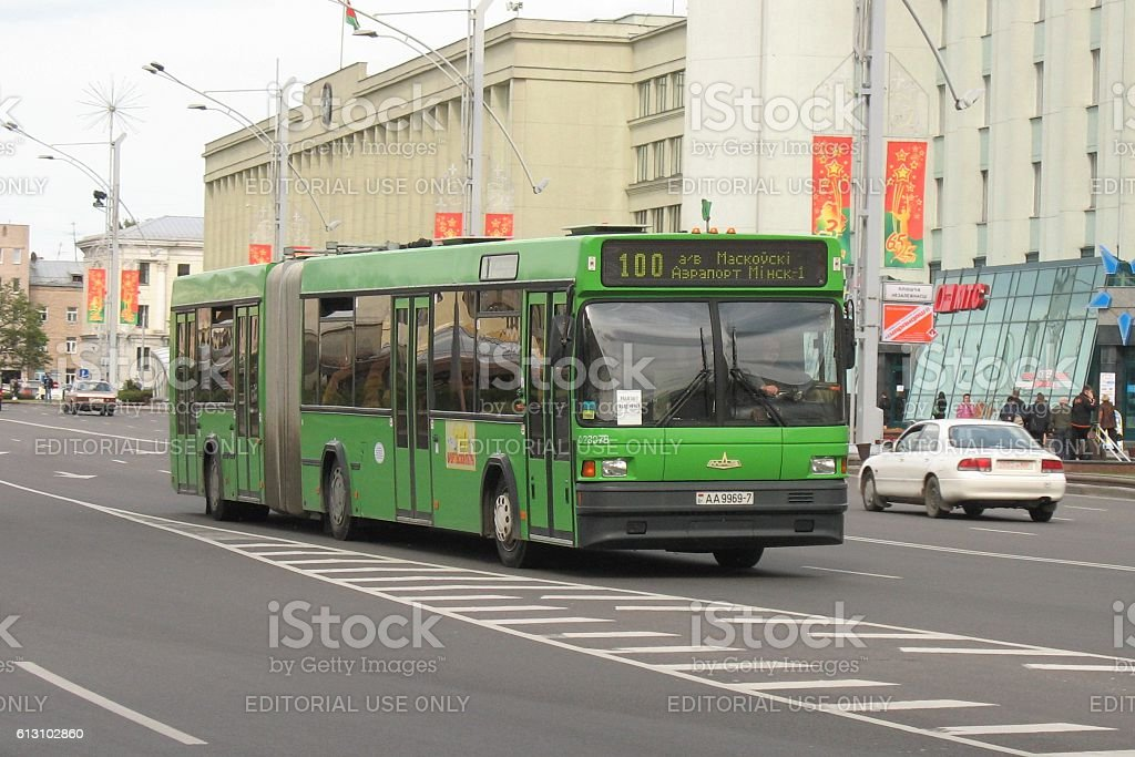 MAZ 105 driving on the street in Minsk stock photo