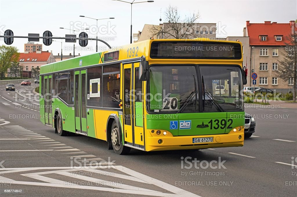 MAZ 103 driving on the street stock photo