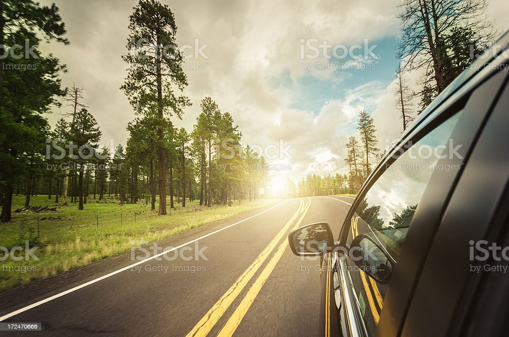 Driving on the US road royalty-free stock photo