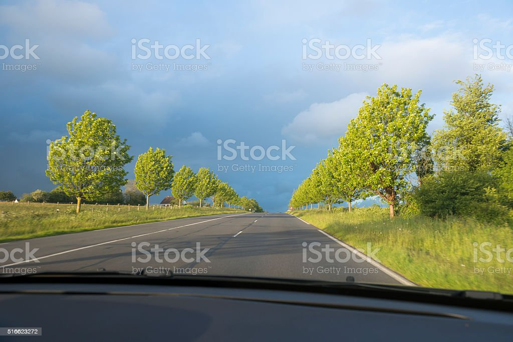 Driving on tree-lined road near Coutances, Normandy, France stock photo