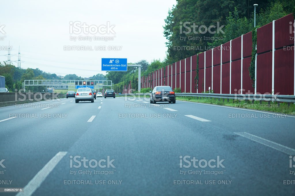 Driving onto highway A 40 stock photo