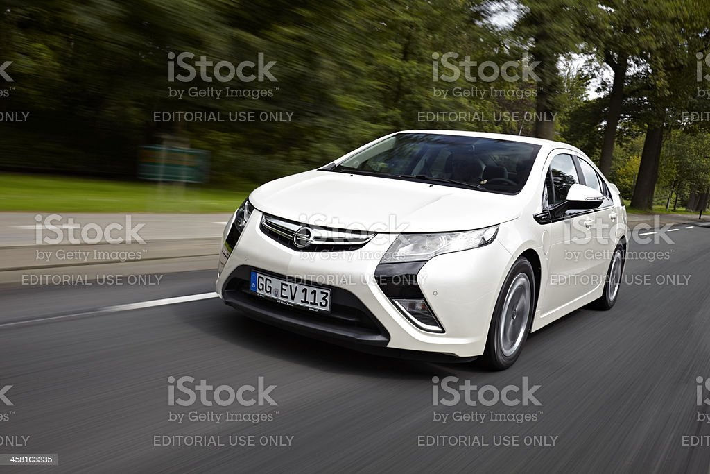 Driving Opel Ampera stock photo