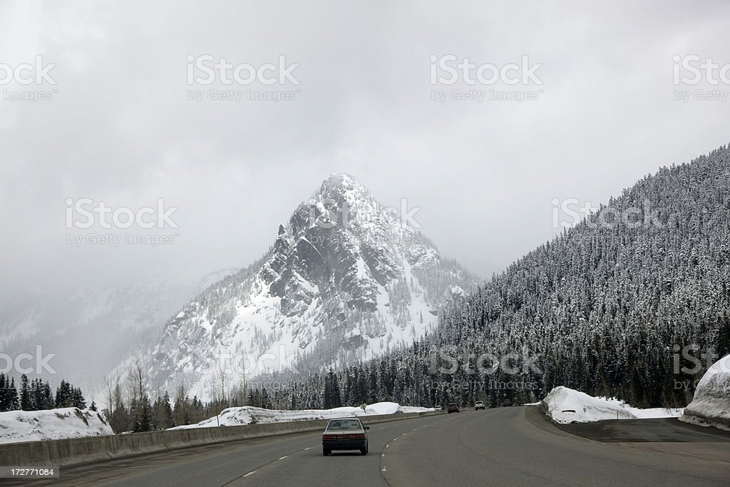 Driving Over Mountain Pass royalty-free stock photo