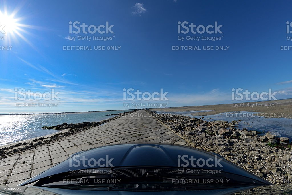 Driving over the Gois stock photo