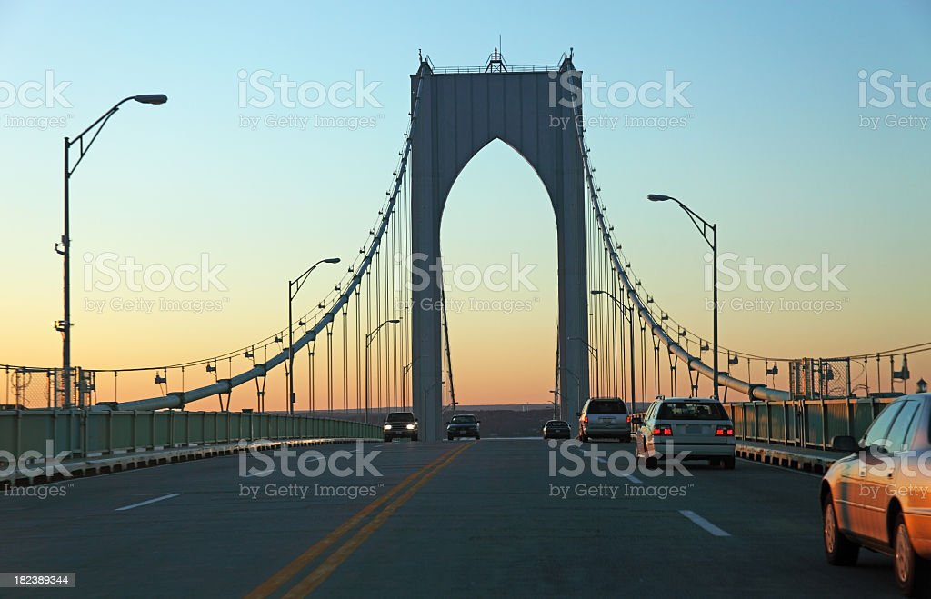 Driving over the Newport Bridge royalty-free stock photo