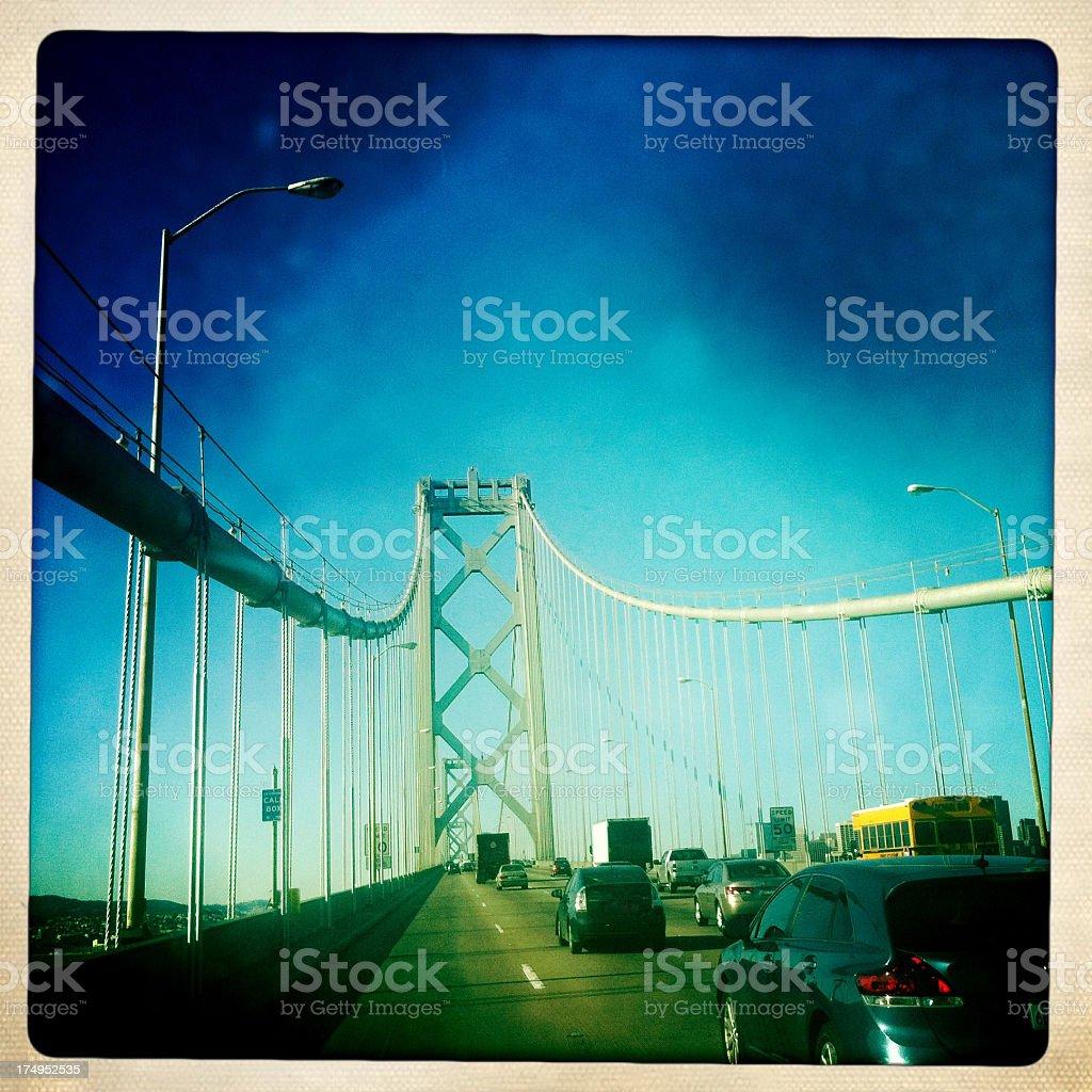 Driving over the San Francisco Bay Bridge (Mobilestock) royalty-free stock photo