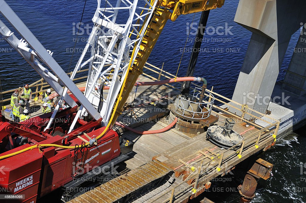 Driving Piling for Bridge Expansion stock photo