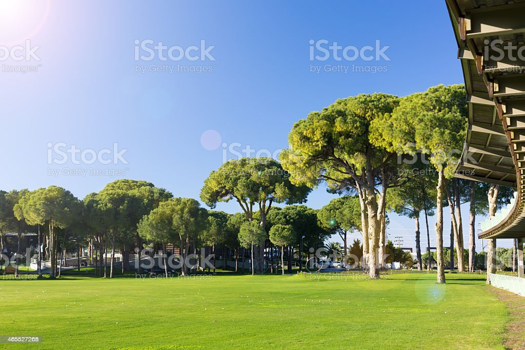 Driving range at a golf course stock photo