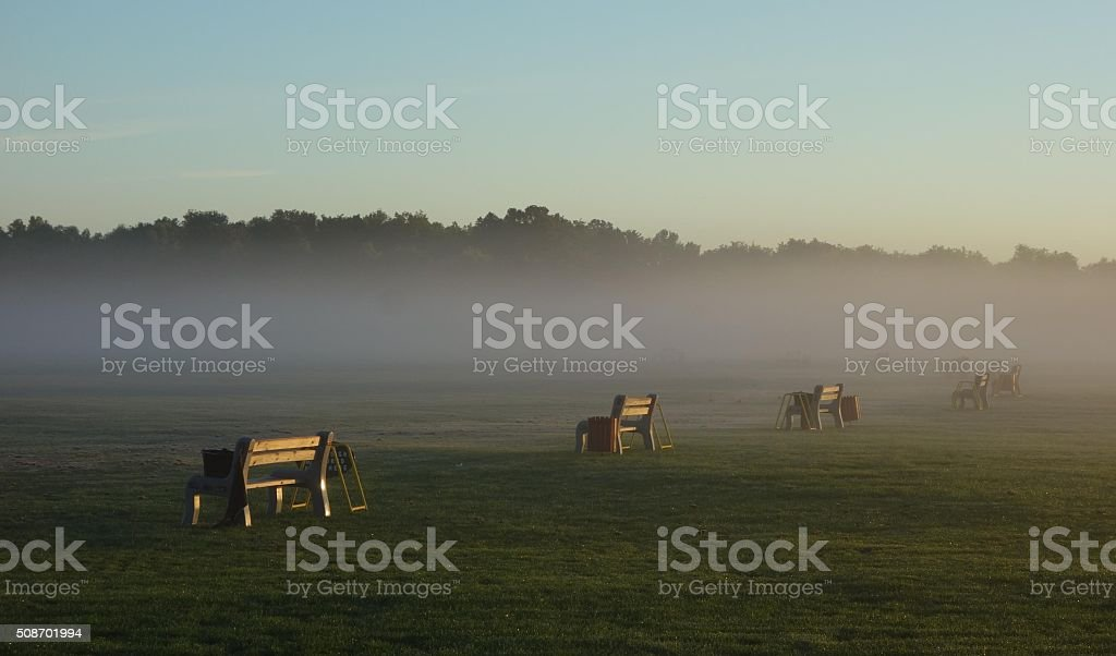 Driving Range Benches stock photo