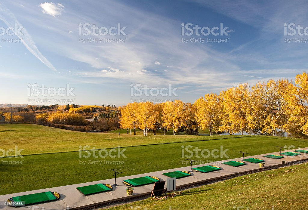 Driving Range in Fall stock photo