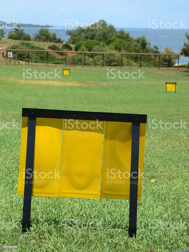 Driving range viewed from other side stock photo