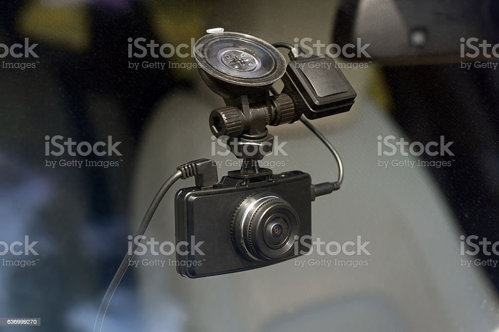 Driving recorder in a car stock photo