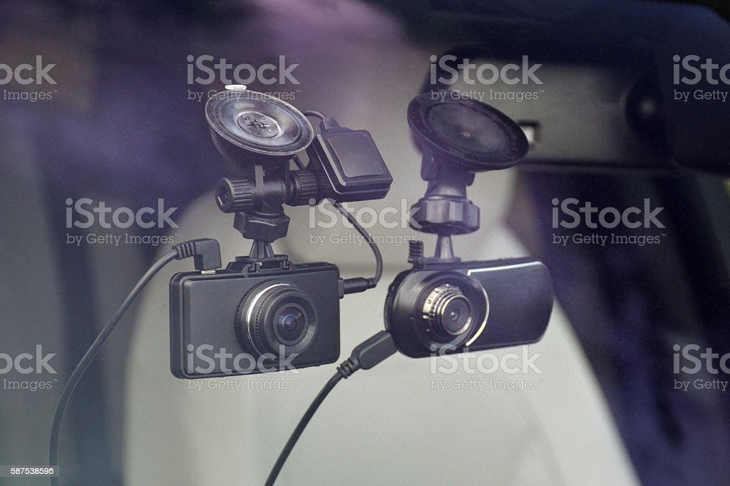 Driving recorders in a car stock photo