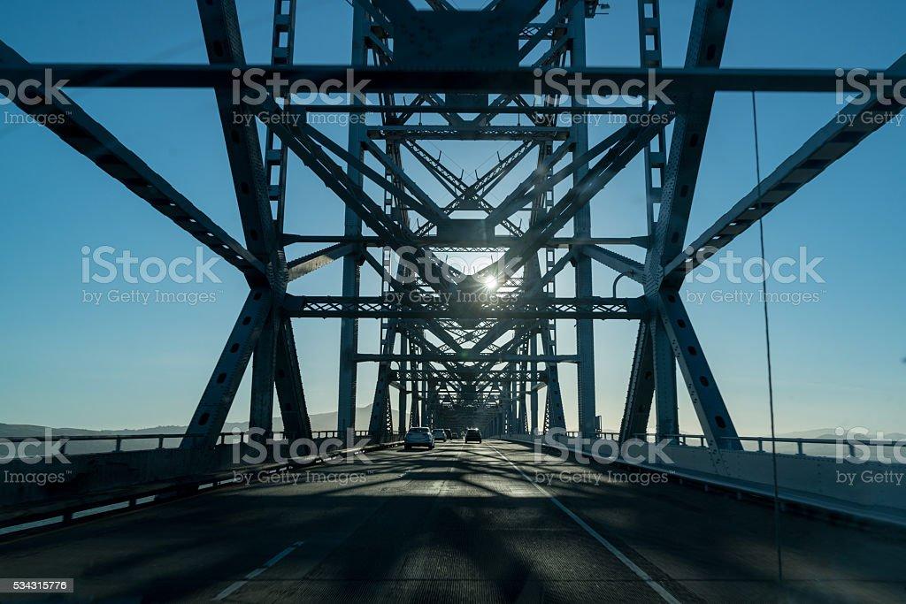 Driving Richmond-San Rafael Bridge San Francisco Bay Area stock photo