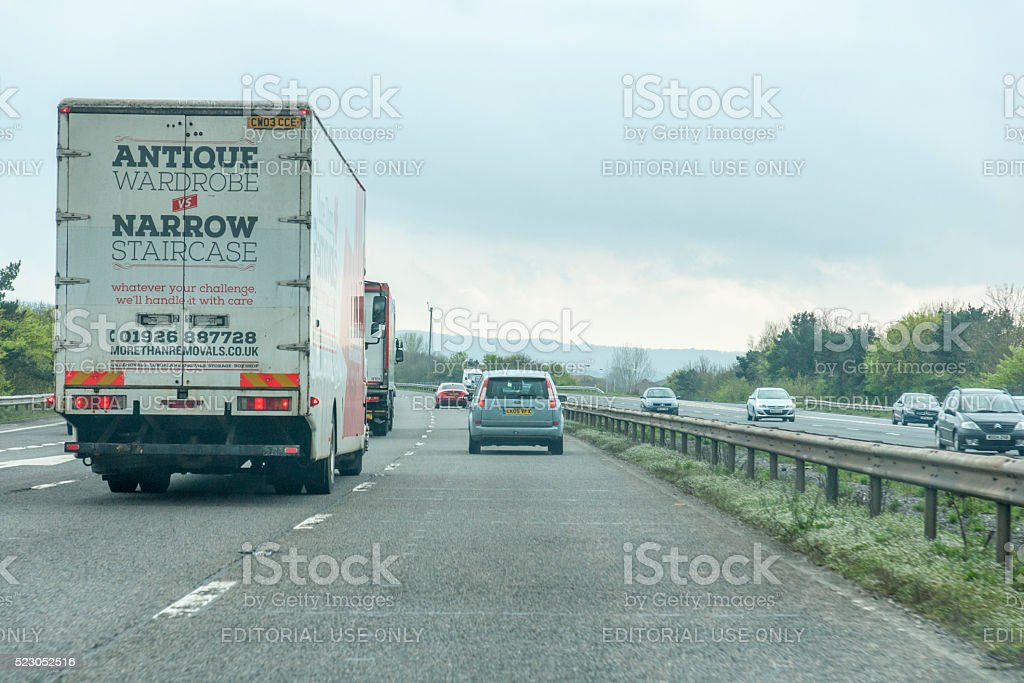 Driving south on the M6 motorway overtaking a lorry stock photo