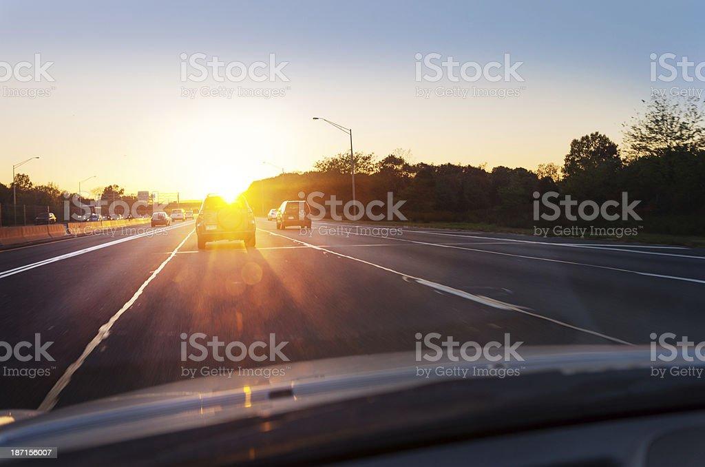 driving sunglare stock photo