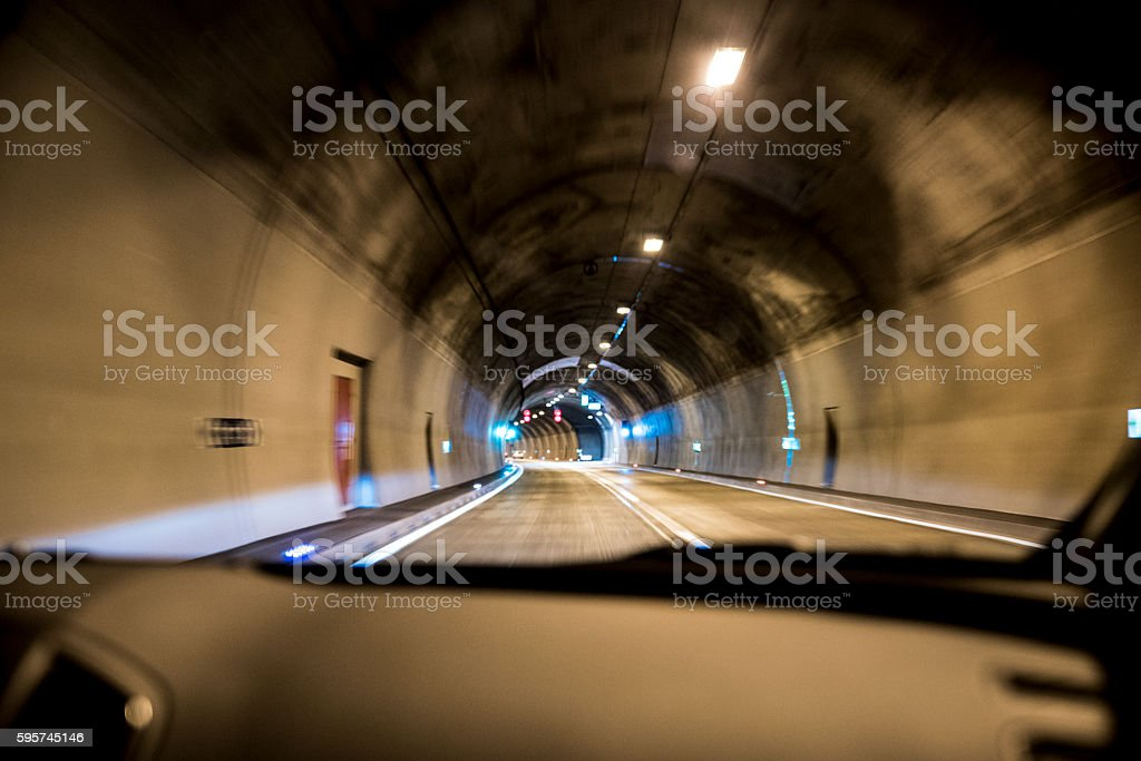 Driving through a tunnel stock photo