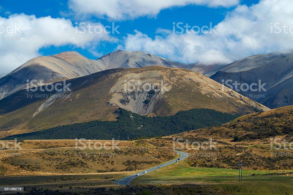 Driving Through Arthur's Pass On New Zealand's South Island stock photo