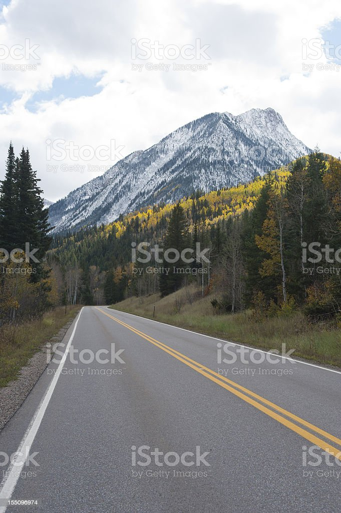 Driving Through Autumn Colors in the Colorado Mountains royalty-free stock photo