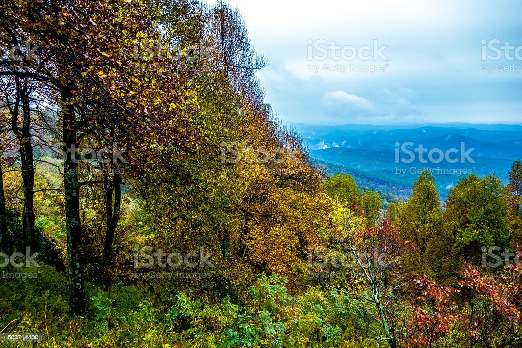 driving through  blue ridge mountains national park stock photo