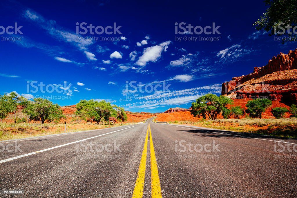 Driving through Capital Reef National Park, Utah, USA stock photo